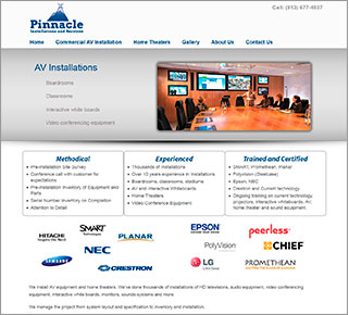 Sample WordPress Website, Pinnacle Installations