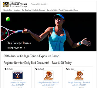 Web Design Sample, CollegeTennis.com