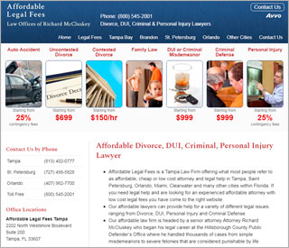 Web Design Sample, Affordable Legal Fees