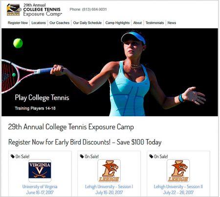 Web Design, College Tennis Exposure Camp